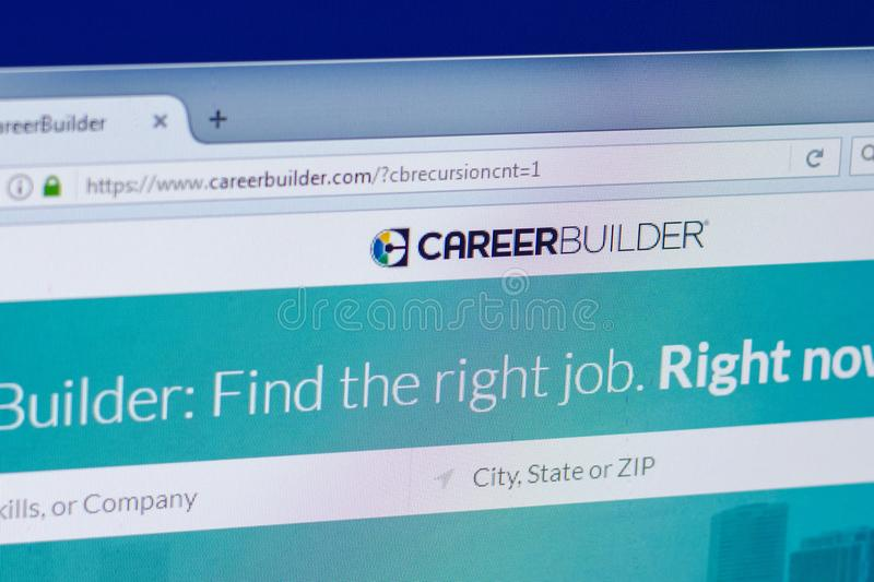 Ryazan, Russia - April 16, 2018 - Homepage of Career Builder website on the PC display, url - careerbuilder.com. stock images