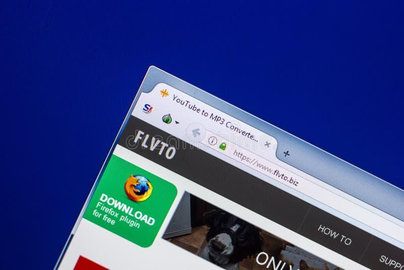 Ryazan, Russia - April 29, 2018: Homepage of Flvto website on the display of PC, url - Flvto.biz.  royalty free stock photography