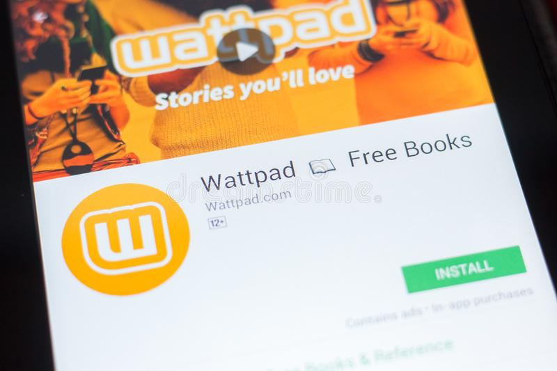 Ryazan, Russia - April 19, 2018 - Wattpad Free Books mobile app on the display of tablet PC. stock photo