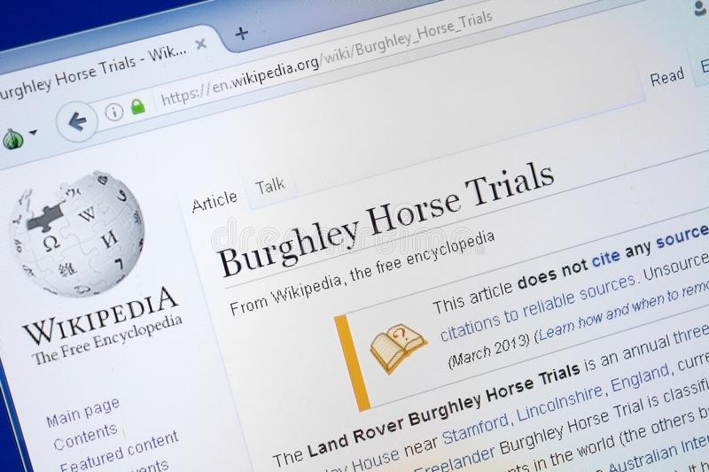 Ryazan, Russia - August 19, 2018: Wikipedia page about Burghley Horse Trials on the display of PC. Ryazan, Russia - August 19, 2018: Wikipedia page about royalty free stock photo