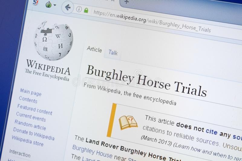 Ryazan, Russia - August 19, 2018: Wikipedia page about Burghley Horse Trials on the display of PC. Ryazan, Russia - August 19, 2018: Wikipedia page about royalty free stock image