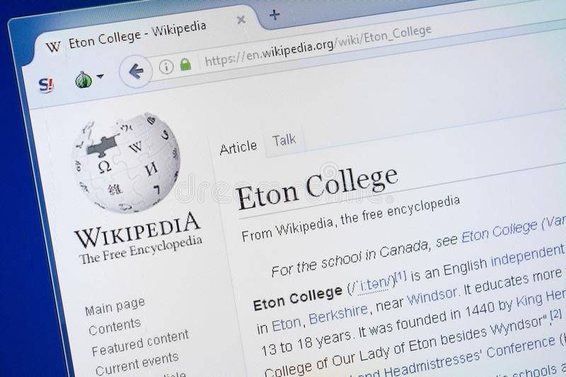 Ryazan, Russia - August 19, 2018: Wikipedia page about Eton College on the display of PC. royalty free stock photo