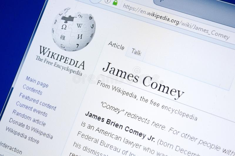 Ryazan, Russia - August 28, 2018: Wikipedia page about James Comey on the display of PC. Ryazan, Russia - August 28, 2018: Wikipedia page about James Comey on royalty free stock images