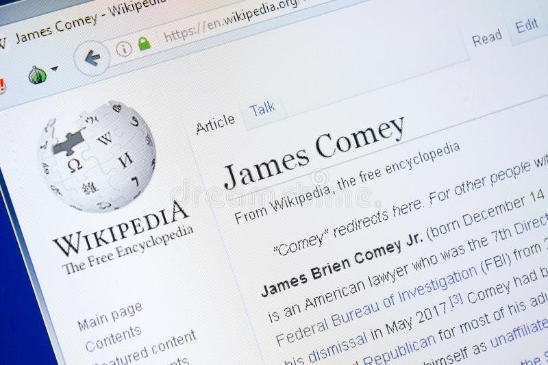 Ryazan, Russia - August 28, 2018: Wikipedia page about James Comey on the display of PC. Ryazan, Russia - August 28, 2018: Wikipedia page about James Comey on stock photos