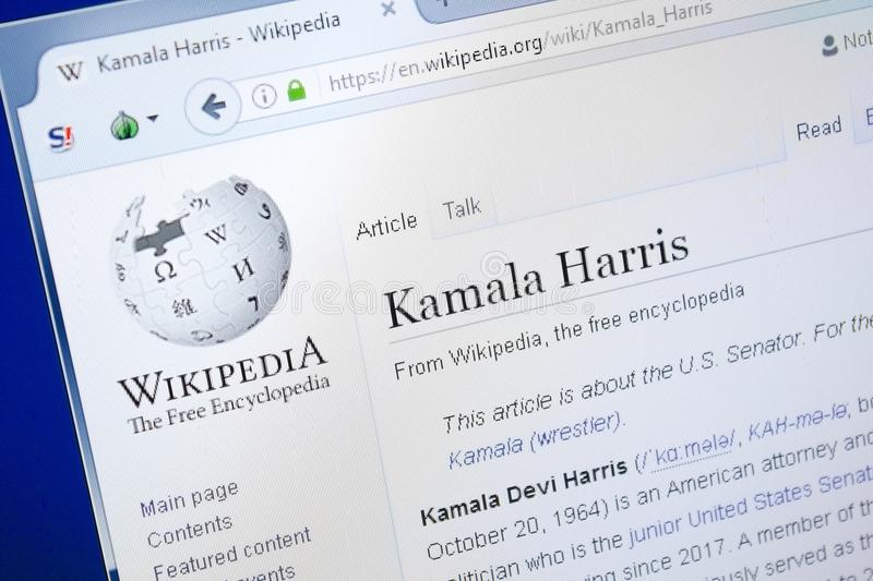 Ryazan, Russia - August 28, 2018: Wikipedia page about Kamala Harris on the display of PC. royalty free stock image