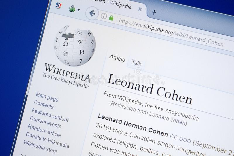 Ryazan, Russia - August 19, 2018: Wikipedia page about Leonard Cohen on the display of PC. royalty free stock images
