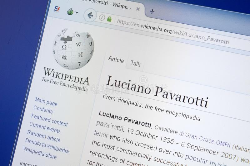 Ryazan, Russia - August 19, 2018: Wikipedia page about Luciano Pavarotti on the display of PC. Ryazan, Russia - August 19, 2018: Wikipedia page about Luciano royalty free stock photo