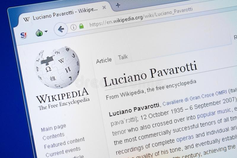 Ryazan, Russia - August 19, 2018: Wikipedia page about Luciano Pavarotti on the display of PC. Ryazan, Russia - August 19, 2018: Wikipedia page about Luciano stock photography