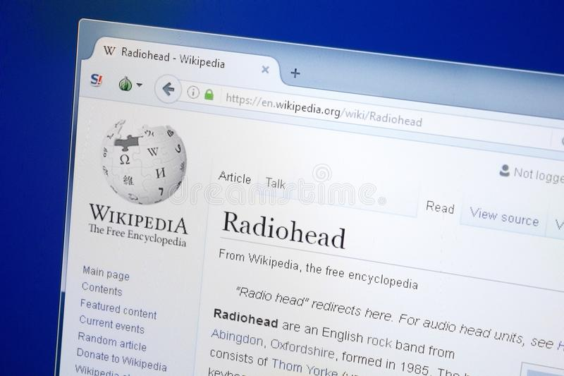 Ryazan, Russia - August 28, 2018: Wikipedia page about Radiohead on the display of PC. royalty free stock photo