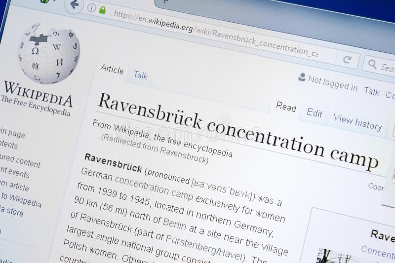 Ryazan, Russia - August 28, 2018: Wikipedia page about Ravensbruck Concentration Camp on the display of PC. Ryazan, Russia - August 28, 2018: Wikipedia page royalty free stock photo