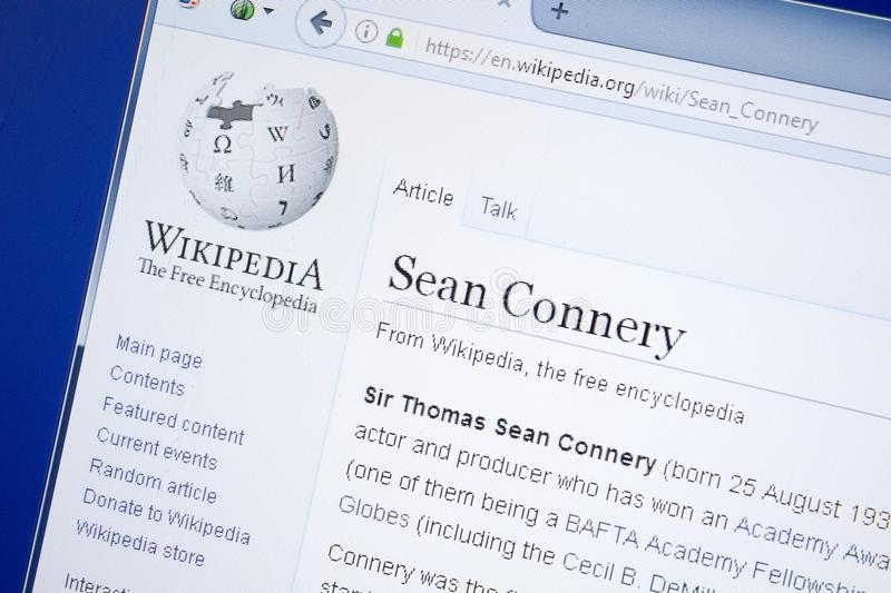 Ryazan, Russia - August 19, 2018: Wikipedia page about Sean Connery on the display of PC. Ryazan, Russia - August 19, 2018: Wikipedia page about Sean Connery on royalty free stock photography