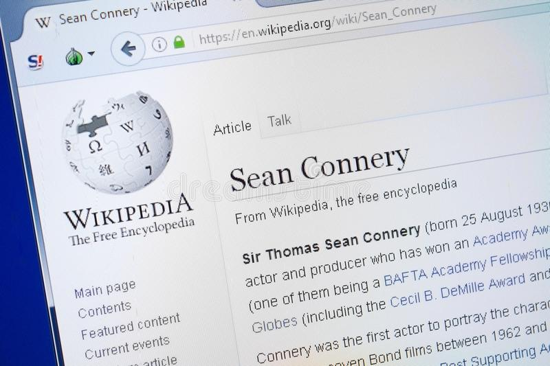 Ryazan, Russia - August 19, 2018: Wikipedia page about Sean Connery on the display of PC. Ryazan, Russia - August 19, 2018: Wikipedia page about Sean Connery on royalty free stock image