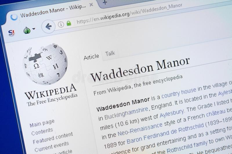 Ryazan, Russia - August 19, 2018: Wikipedia page about Waddesdon Manor on the display of PC. stock photo