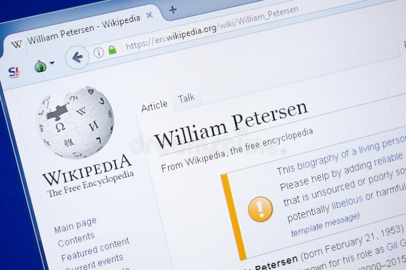 Ryazan, Russia - August 19, 2018: Wikipedia page about William Petersen on the display of PC. royalty free stock photo