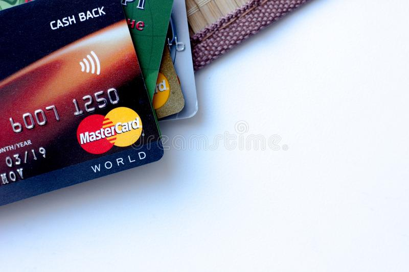 Ryazan, Russia - February 27, 2018: Few credit cards of Mastercard company over the white table stock images