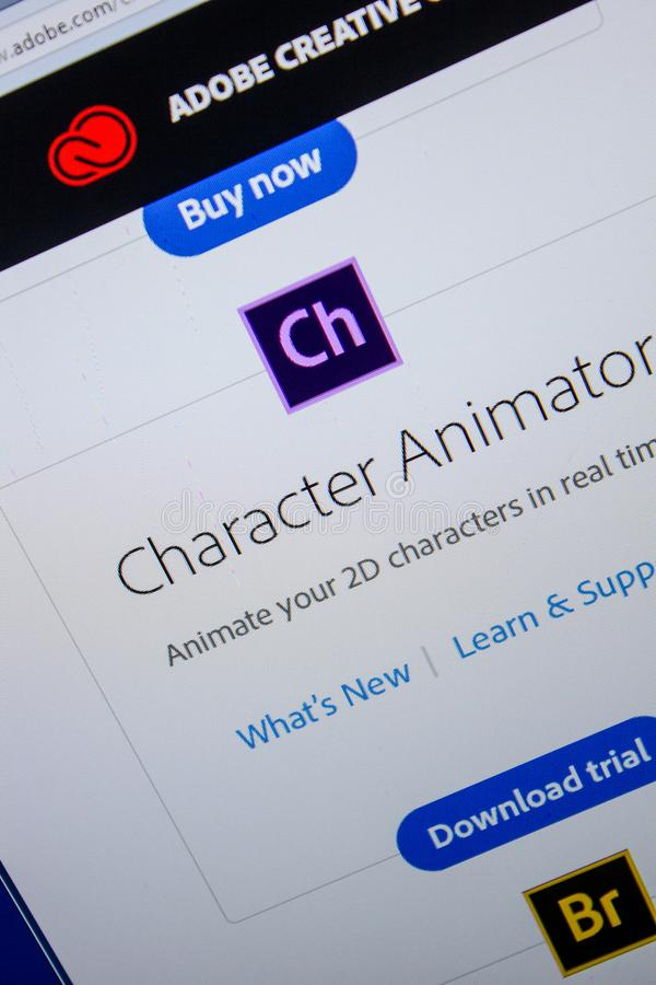Ryazan, Russia - July 11, 2018: Adobe Character Animator, software logo on the official website of Adobe. Ryazan, Russia - July 11, 2018: Adobe Character stock image