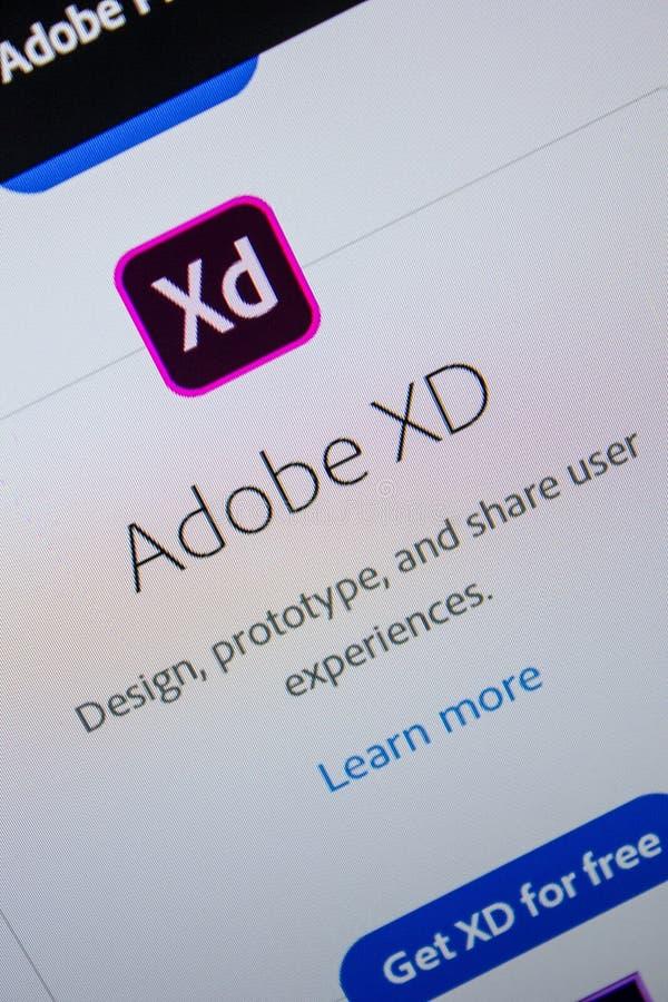 Ryazan, Russia - July 11, 2018: Adobe XD, software logo on the official website of Adobe. Ryazan, Russia - July 11, 2018: Adobe XD, software logo on the royalty free stock photo