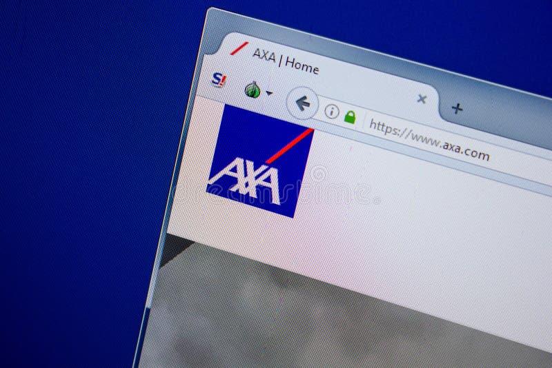 Ryazan, Russia - July 11, 2018: Axa.com website on the display of PC. Ryazan, Russia - July 11, 2018: Axa.com website on the display of PC royalty free stock image