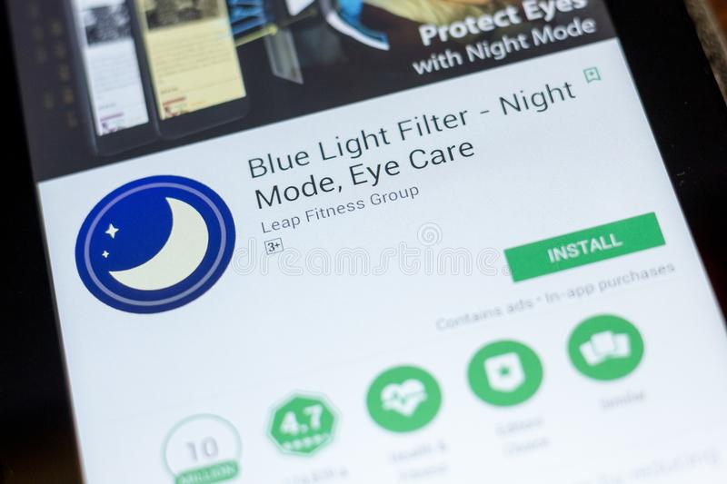Ryazan, Russia - July 03, 2018: Blue Light Filter - Night Mode, Eye Care mobile app on the display of tablet PC. Ryazan, Russia - July 03, 2018: Blue Light royalty free stock photos