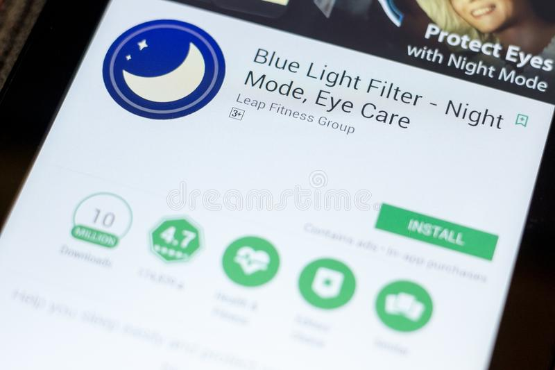 Ryazan, Russia - July 03, 2018: Blue Light Filter - Night Mode, Eye Care mobile app on the display of tablet PC. Ryazan, Russia - July 03, 2018: Blue Light stock image