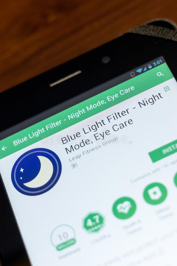 Ryazan, Russia - July 03, 2018: Blue Light Filter - Night Mode, Eye Care mobile app on the display of tablet PC. Ryazan, Russia - July 03, 2018: Blue Light royalty free stock photography