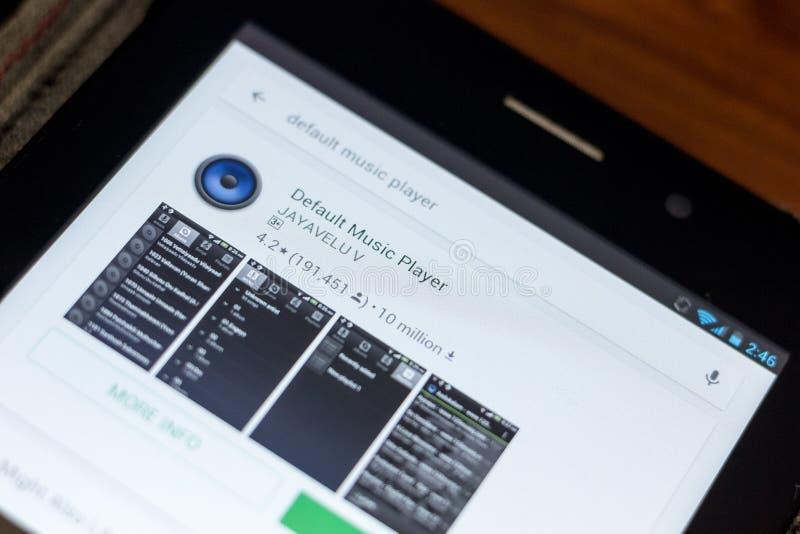 Ryazan, Russia - July 03, 2018: Default Music Player icon in the list of mobile apps. Ryazan, Russia - July 03, 2018: Default Music Player mobile app on the stock image