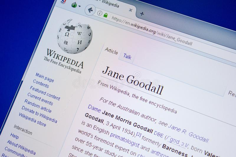 Ryazan, Russia - July 09, 2018: Page on Wikipedia about Jane Goodall on the display of PC. Ryazan, Russia - July 09, 2018: Page on Wikipedia about Jane Goodall stock photos