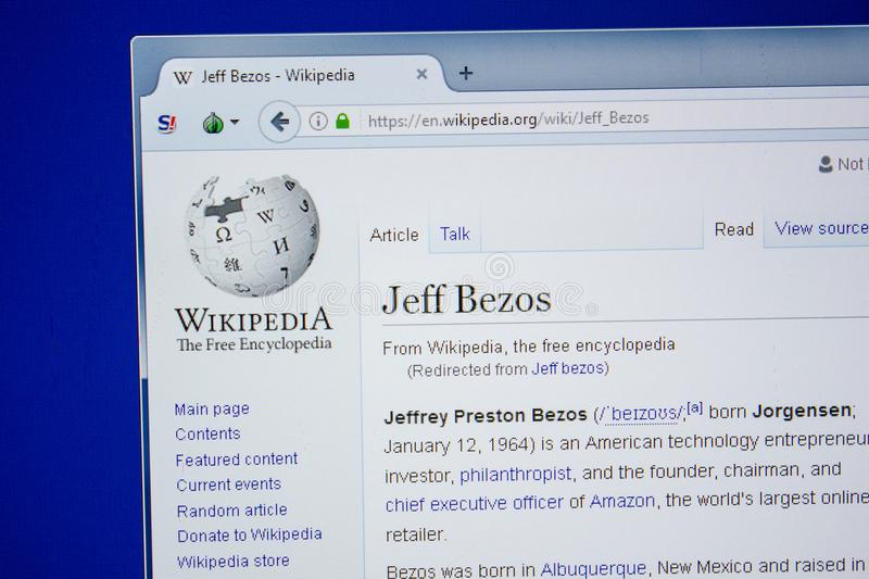 Ryazan, Russia - July 09, 2018: Page on Wikipedia about Jeff Bezos on the display of PC. Ryazan, Russia - July 09, 2018: Page on Wikipedia about Jeff Bezos royalty free stock image
