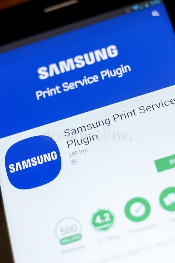 Ryazan, Russia - July 03, 2018: Samsung Print Service Plugin mobile app on the display of tablet PC. Ryazan, Russia - July 03, 2018: Samsung Print Service royalty free stock photo