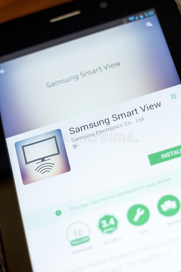 Ryazan, Russia - July 03, 2018: Samsung Smart View mobile app on the display of tablet PC. Ryazan, Russia - July 03, 2018: Samsung Smart View icon in the list stock image
