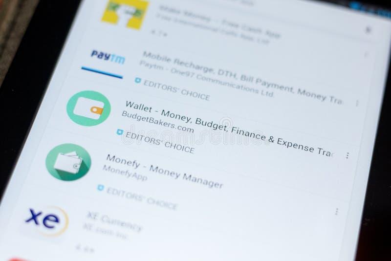 Ryazan, Russia - July 03, 2018: Wallet - Money, Budget, Finance icon in the list of mobile apps. Ryazan, Russia - July 03, 2018: Wallet - Money, Budget, Finance stock image