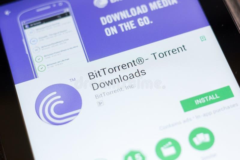 Ryazan, Russia - June 24, 2018: BitTorrent, Bit Torrent downloads mobile app on the display of tablet PC. Ryazan, Russia - June 24, 2018: BitTorrent, Bit stock photos