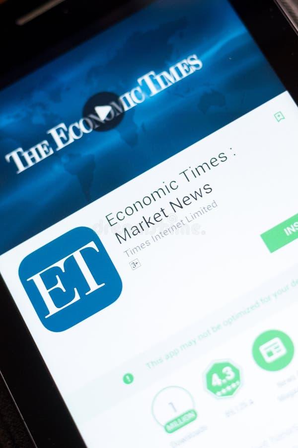 Ryazan, Russia - June 24, 2018: Economic Times Market News mobile app on the display of tablet PC. Ryazan, Russia - June 24, 2018: Economic Times Market News stock image