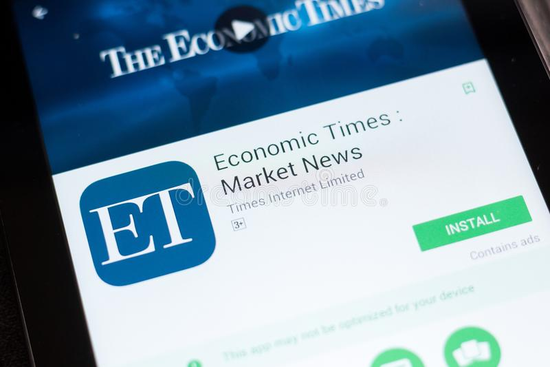 Ryazan, Russia - June 24, 2018: Economic Times Market News mobile app on the display of tablet PC. Ryazan, Russia - June 24, 2018: Economic Times Market News royalty free stock images