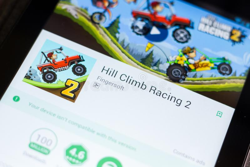 Ryazan, Russia - June 24, 2018: Hill Climb Racing 2 mobile app on the display of tablet PC. stock photography