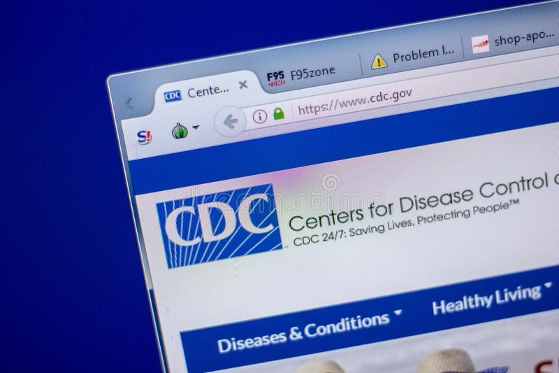 Ryazan, Russia - June 05, 2018: Homepage of CDC vwebsite on the display of PC, url - CDC.gov. Ryazan, Russia - June 05, 2018: Homepage of CDC vwebsite on the royalty free stock photos