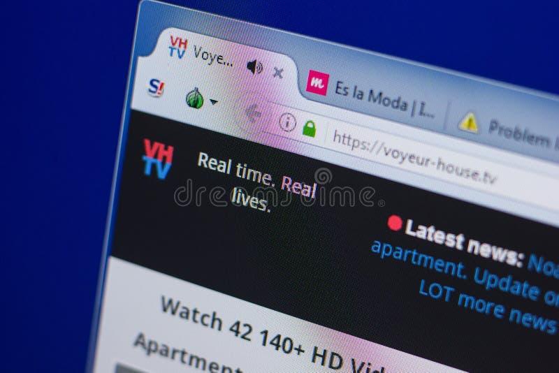 Ryazan, Russia - June 17, 2018: Homepage of Voyeur-House website on the display of PC, url - Voyeur-House.tv. royalty free stock images