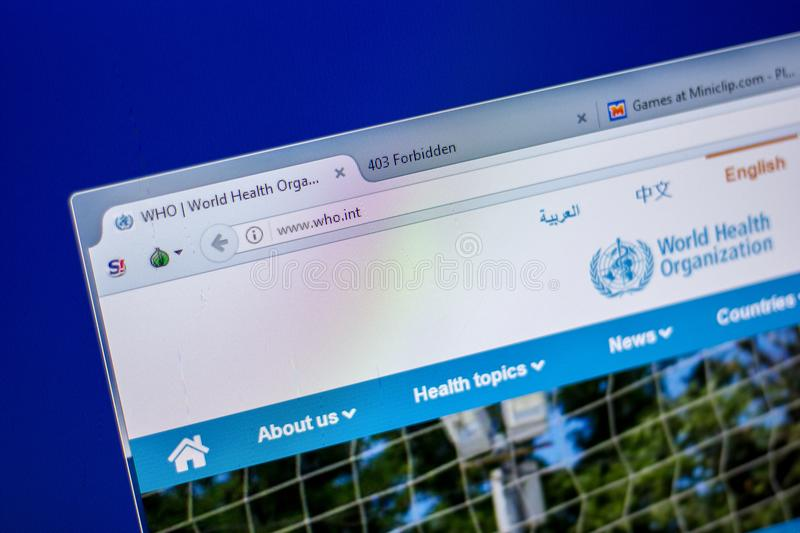 Ryazan, Russia - June 05, 2018: Homepage of World Healt Organisation website on the display of PC, url - Who.int. Ryazan, Russia - June 05, 2018: Homepage of stock photography