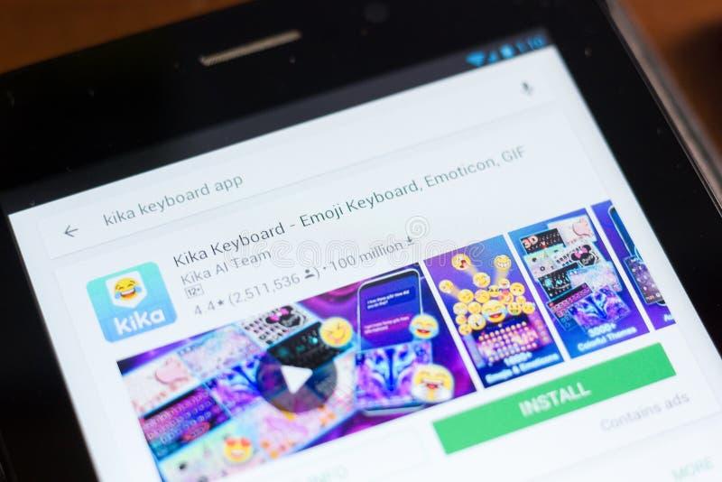 Ryazan, Russia - June 24, 2018: Kika Keyboard - Emoji Keyboard, Emoticon, GIF icon on the list of mobile apps. Ryazan, Russia - June 24, 2018: Kika Keyboard royalty free stock photo