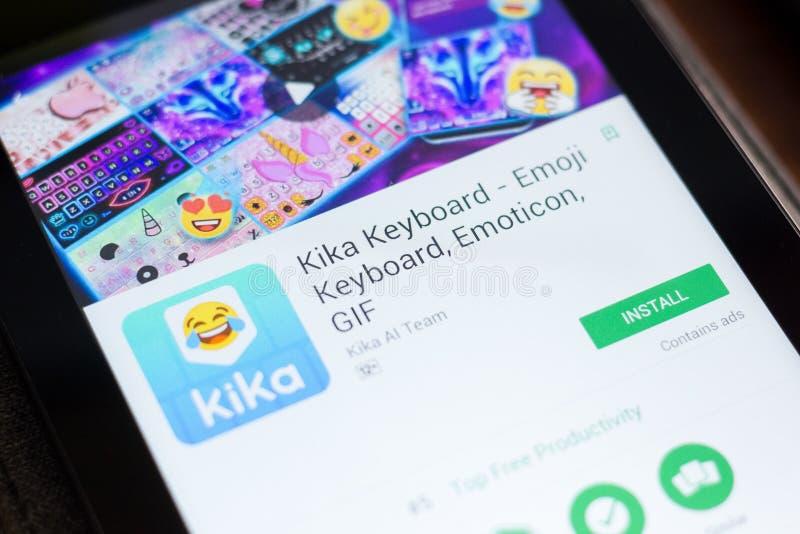 Ryazan, Russia - June 24, 2018: Kika Keyboard - Emoji Keyboard, Emoticon, GIF mobile app on the display of tablet PC. Ryazan, Russia - June 24, 2018: Kika stock image