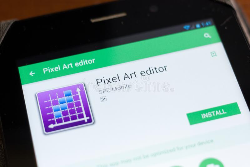 Ryazan, Russia - June 24, 2018: Pixel Art Editor mobile app on the display of tablet PC. Ryazan, Russia - June 24, 2018: Pixel Art Editor mobile app on the stock images