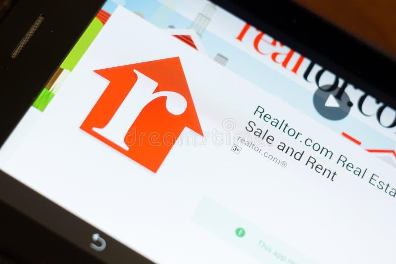 Ryazan, Russia - June 24, 2018: Realtor.com Real Estate mobile app on the display of tablet PC. Ryazan, Russia - June 24, 2018: Realtorcom Real Estate mobile royalty free stock photos
