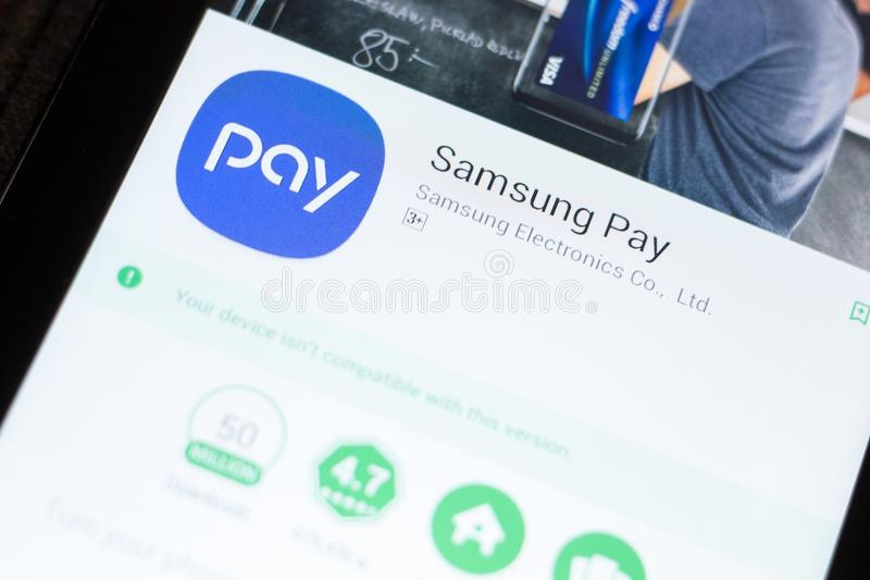 Ryazan, Russia - June 24, 2018: Samsung Pay mobile app on the display of tablet PC. Ryazan, Russia - June 24, 2018: Samsung Pay mobile app on the display of royalty free stock photo