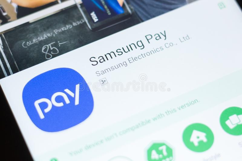 Ryazan, Russia - June 24, 2018: Samsung Pay mobile app on the display of tablet PC. Ryazan, Russia - June 24, 2018: Samsung Pay mobile app on the display of stock photography