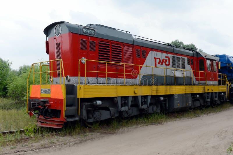 Shunting locomotive ChMEZ-1755 at the railway station. RYAZAN, RUSSIA - JUNE 16, 2015:Shunting locomotive ChMEZ-1755 at the railway station stock images