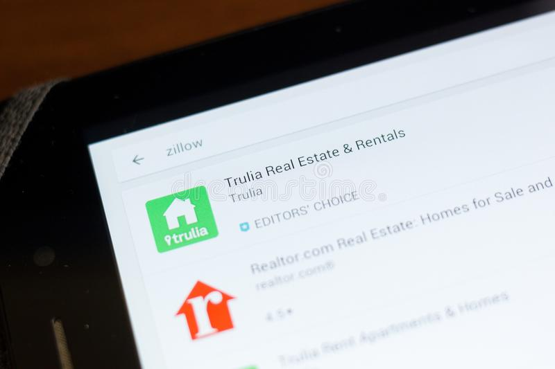 Ryazan, Russia - June 24, 2018: Trulia Real Estate and Rentals icon on the list of mobile apps. Ryazan, Russia - June 24, 2018: Trulia Real Estate and Rentals royalty free stock image