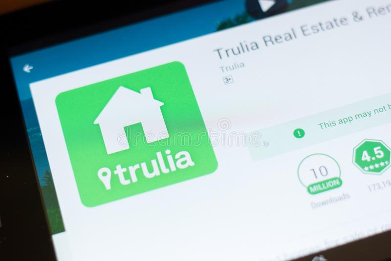 Ryazan, Russia - June 24, 2018: Trulia Real Estate and Rentals mobile app on the display of tablet PC. Ryazan, Russia - June 24, 2018: Trulia Real Estate and stock photography