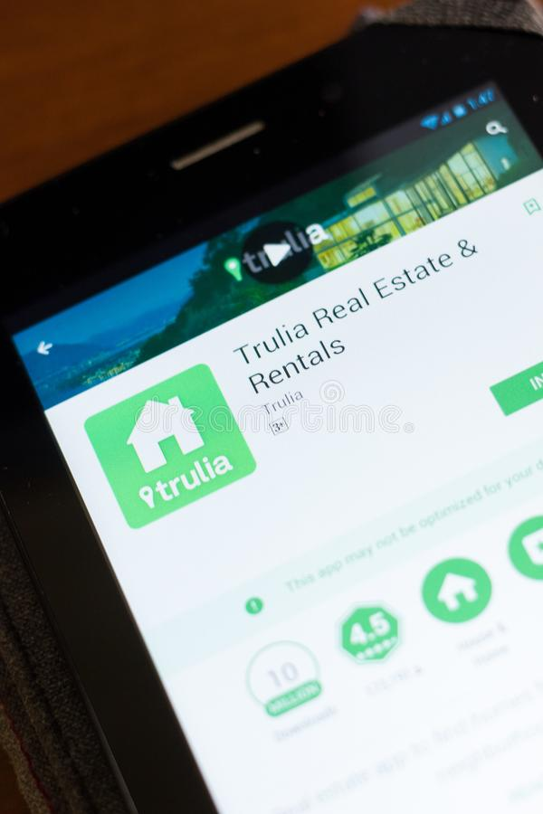 Ryazan, Russia - June 24, 2018: Trulia Real Estate and Rentals mobile app on the display of tablet PC. Ryazan, Russia - June 24, 2018: Trulia Real Estate and stock image