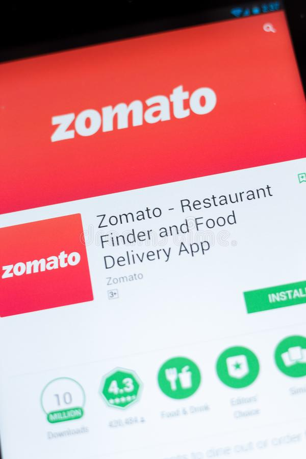 Ryazan, Russia - June 24, 2018: Zomato - Restaurant Finder and Food Delivery mobile app on the display of tablet PC. Ryazan, Russia - June 24, 2018: Zomato royalty free stock image