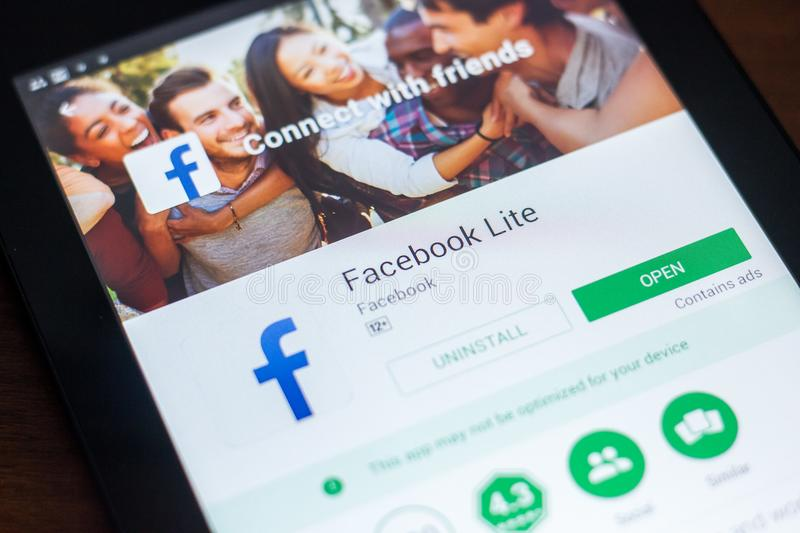 Ryazan, Russia - March 21, 2018 - Facebook Lite mobile app on the display of tablet PC. Ryazan, Russia - March 21, 2018 - Facebook Lite mobile app on the royalty free stock photo
